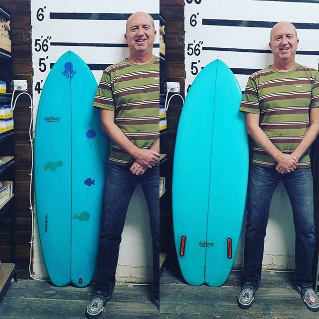 How is this dude, his names Matt he came all the way down from Sydney got out of corporate suit and shape, glass and sanded his first surfboard for his daughter
