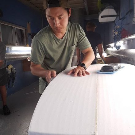 Adrian came all the way from Taiwan to do the surfboard making course