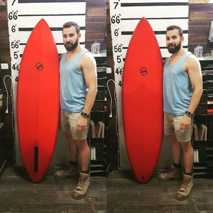 Kane finished up with this deep translucent red tint, double cutlap , patch inlay single fin
