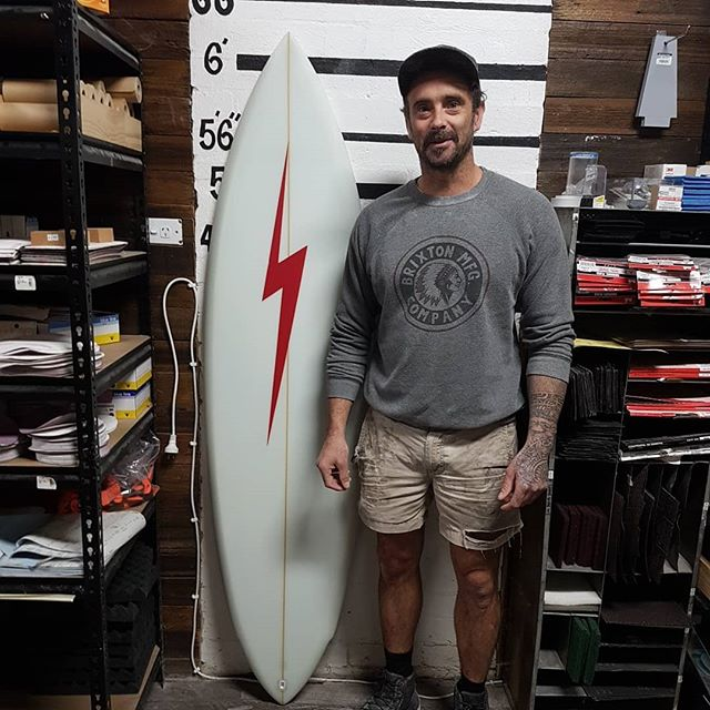 6'4 MP Template. shaped and tuned up as a HP single fin under the amazing Studio  teacher Simon  Forward @4dsurfboards . Ryan finished up with this amazing sled to go home with. Super clean lines, magic glass job and an amazing sanded finish. Well done mate show room quality. Hope she goes well. Enjoy