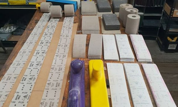 Finishing up our new double sided shapers blocks and cutting up the abrasive paper and gauze