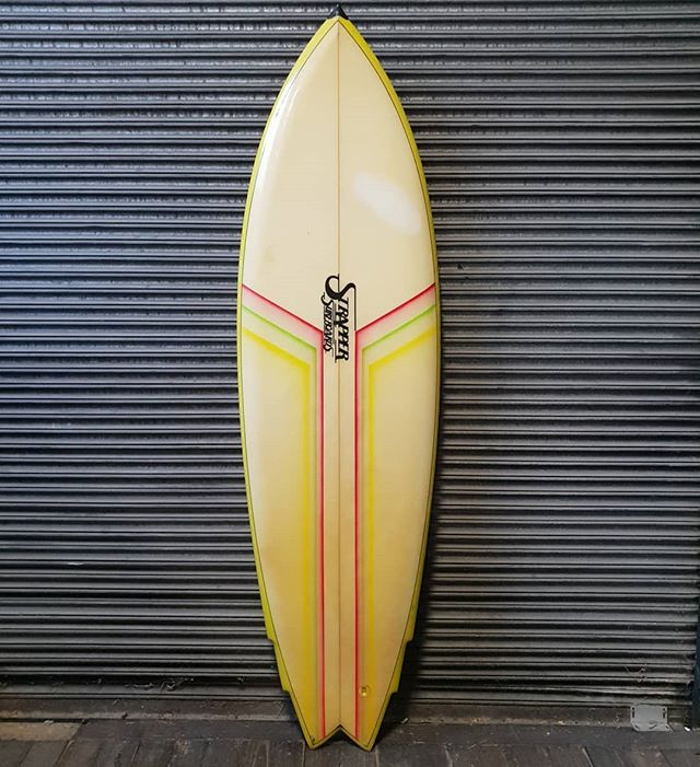 Here is another rare gem made by our friends  at Strapper surfboards in Torquay. Wooden twin fins, double flyer swallow