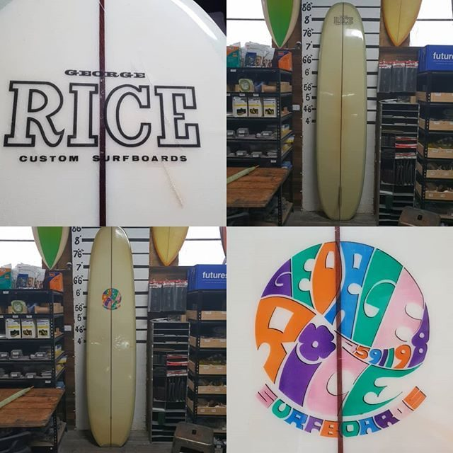 For sale 8'7 George Rice surfboard excellent condition for its age clean board